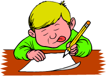 cartoon boy writing on a paper at desk