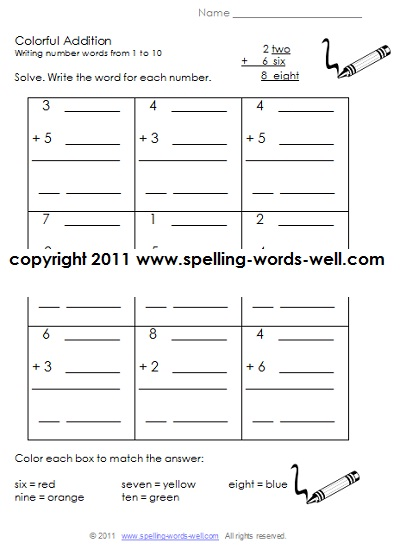 printable first grade worksheets - Colorful Addition