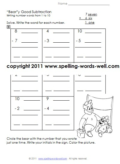 Printables Free Worksheets For 1st Grade printable first grade worksheets bear y good subtraction