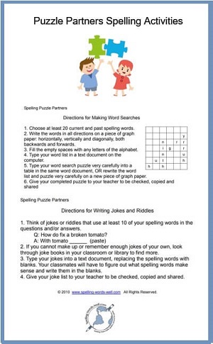 Puzzle Partners Page of Instructions