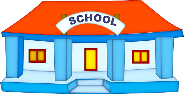 red and blue school building