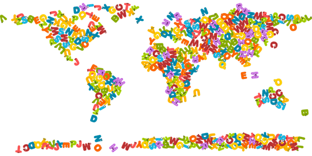 World map made of scrambled letters, from our page of Word Scramble Help at www.spelling-words-well.com