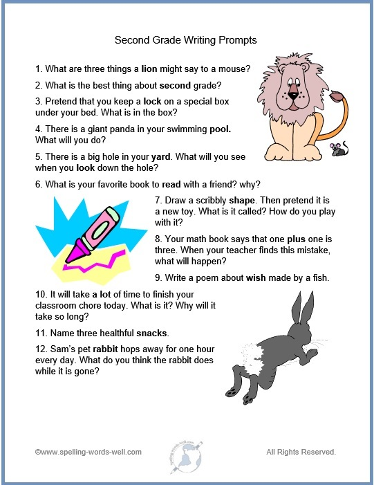writing prompts for kid - 2nd grade prompts