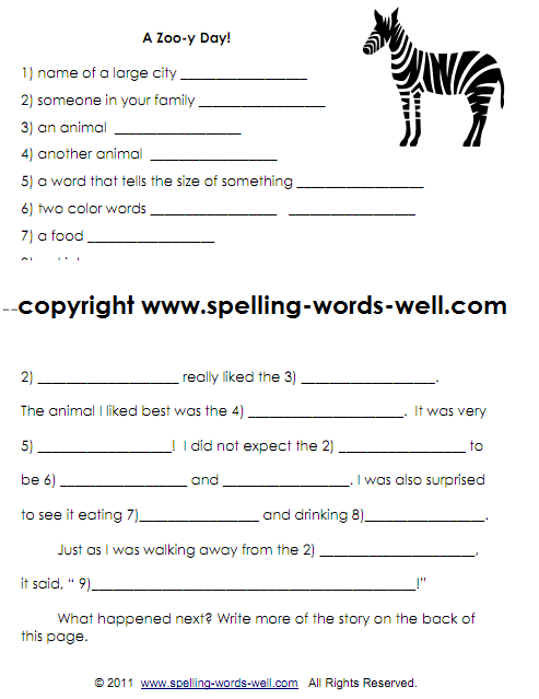 Zoo-y Story - second grade writing worksheet