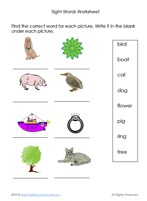 Sight Words Worksheets for Spelling and Reading Practice