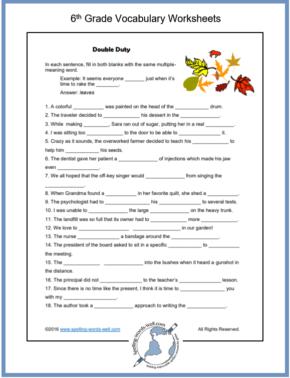 Sixth grade vocabulary worksheet features double meaning words. From www.spelling-words-well.com