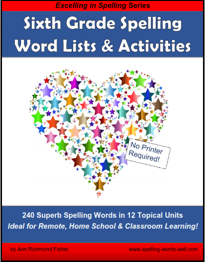 Sixth Grade Spelling Words and Activities  eBook Cover