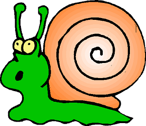 scared cartoony snail