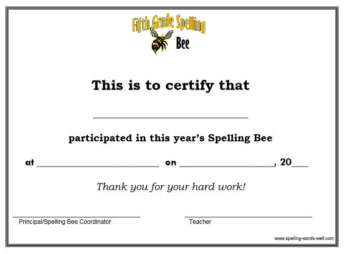Spelling Bee Certificate Of Participation | Search Results | Calendar ...