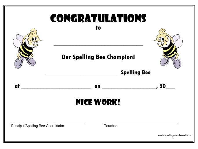 spelling bee certificate for the champ