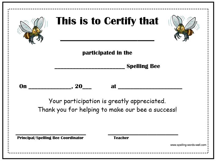 Spelling Bee Certificate For Participants  Free Editable Certificate Templates For Word
