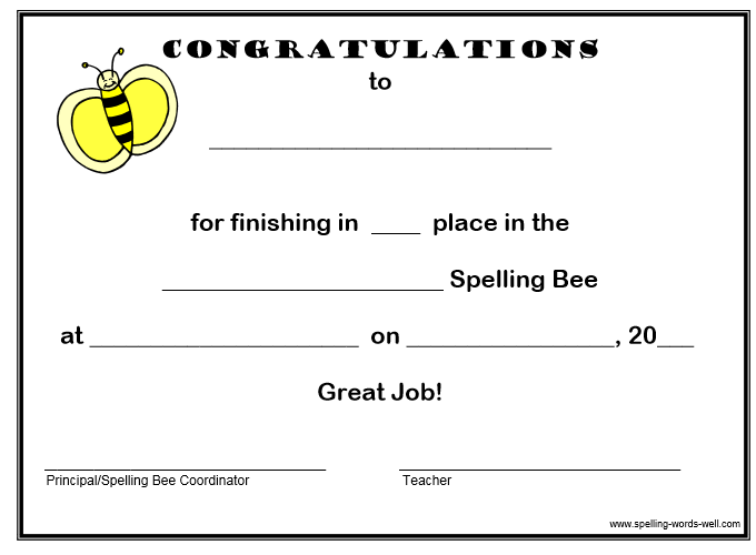 spelling bee certificate for those who placed