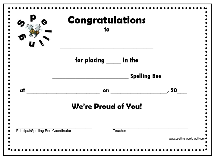 Image Result For Award Template Spelling Bee