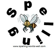 Busy Bee surrounded by the letters SPELLING, from our list of 2nd grade spelling bee words at www.spelling-words-well.com