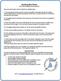 Spelling Bee Rules from www.spelling-words-well.com