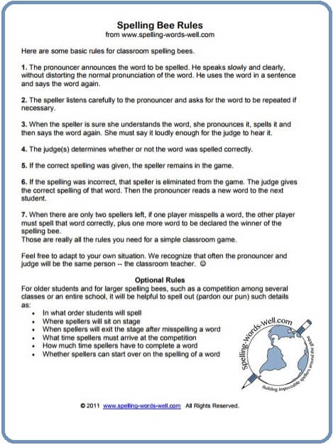 Spelling bee rules for your next competition spelling bee rules spiritdancerdesigns Image collections