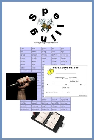 Spelling Bee word lists, certificate, microphone, organizational notebook and bee graphic