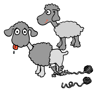 Two cartoon lambs, with balls of yarn following behind them