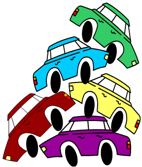 Cars piled up in a traffic jam, from our collection of 12 Easy Brain Teasers with Answers