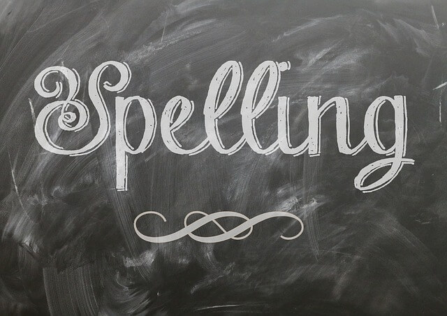 Spelling written on chalkboard