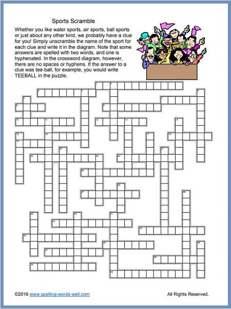 Sports Crossword Puzzles For Word Play Fun