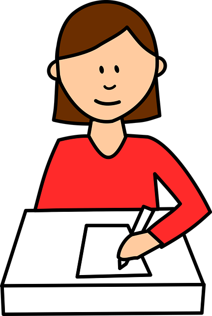cartoony girl at her desk, writing on a piece of paper