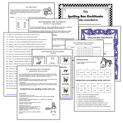 sample pages from both Spelling Bee Toolboxes