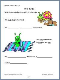 The Bugs - free printable kindergarten worksheet with the UG word family