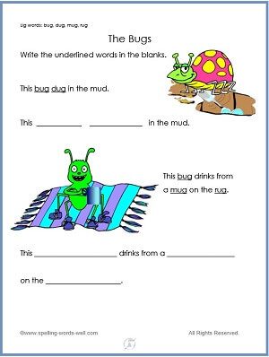The Bugs - free kindergarten worksheet with the UG word family