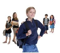 third grade boy with backpack and classmates