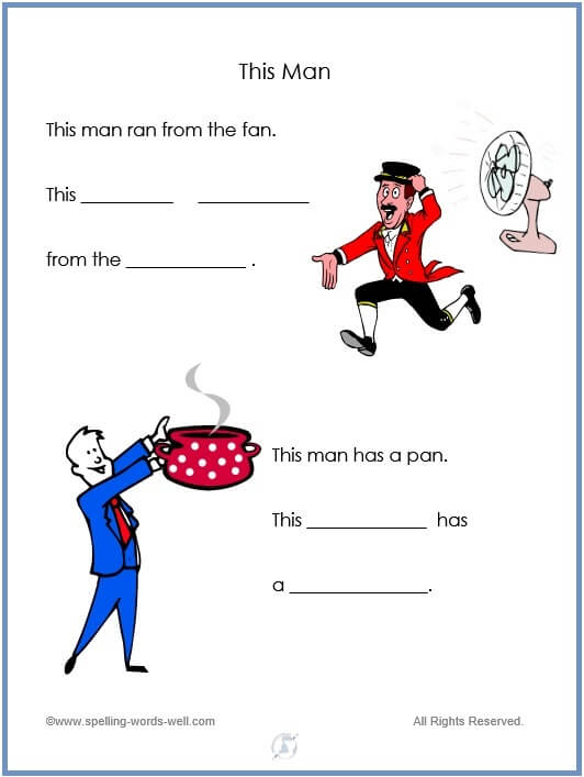This Man - printable kindergarten worksheet