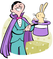 Magician pulling rabbit out of a hat, from our Magic Word Square Puzzlers
