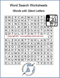 Word Search Worksheets offer fun spelling practice! This one features #spellingwords with silent letters.