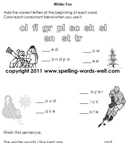 Winter Fun - worksheet for first grade