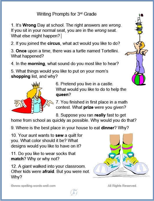 list writing prompts for 3rd grade