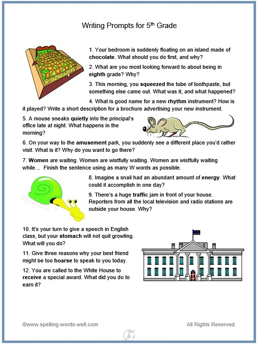 descriptive writing prompts 5th grade I created this book of writing prompts over the years teaching english lan-   these writing prompts encourage students of all ages to write about the  page 5 .