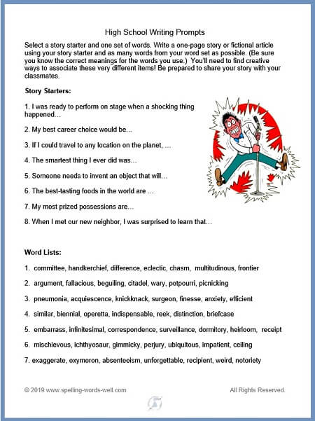 Creative writing prompts for high school from www.spelling-words-well.com