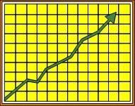 Yellow graph with a sharply rising arrow